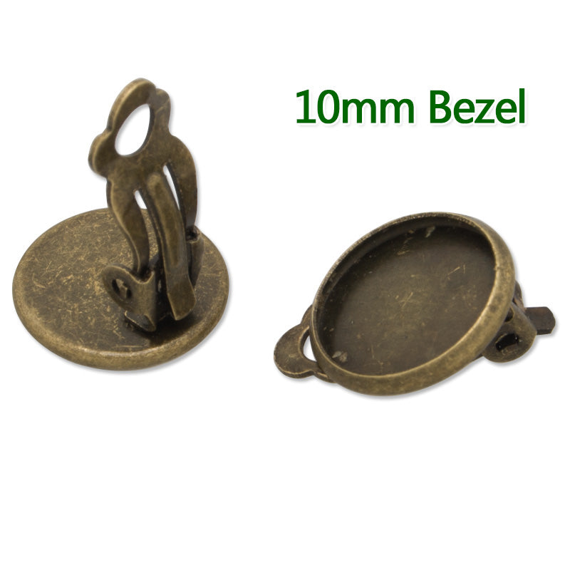 10MM Round Antique Bronze Plated Ear Clip,earring bezel,fit 10MM glass cabochons,buttons,sold 50pcs per lot