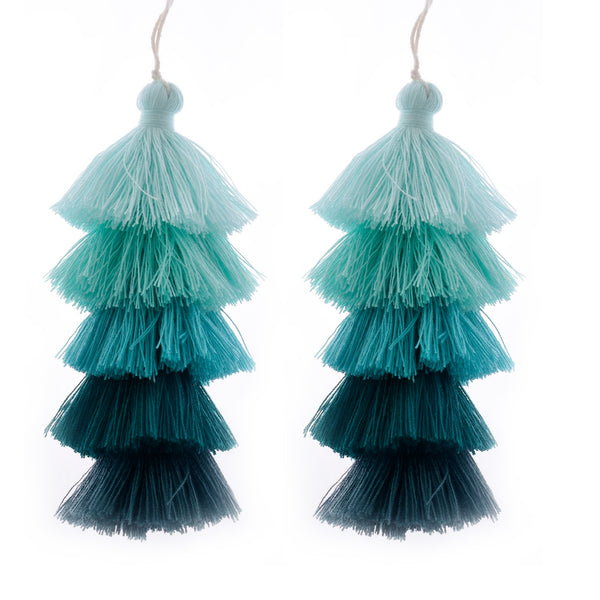 Wholesale Layered Tassel Pendant Five Tier Colorful Cotton Tassel for Earrings pendant handmade 2pcs 10192853