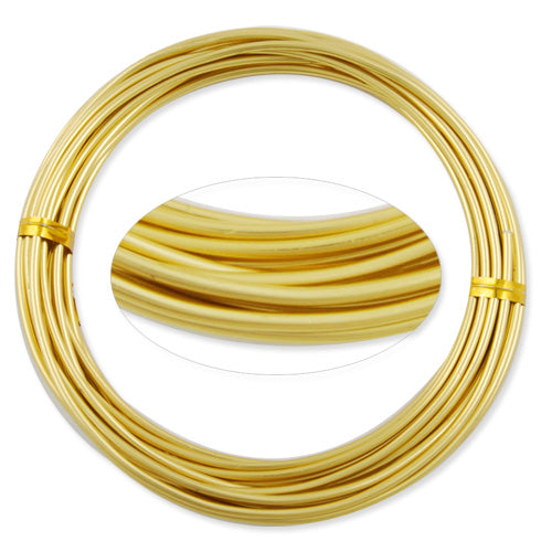 2.0MM Anodized Aluminum Wire, Light yellow Coated, round,5M/coil,Sold Per 10 coils