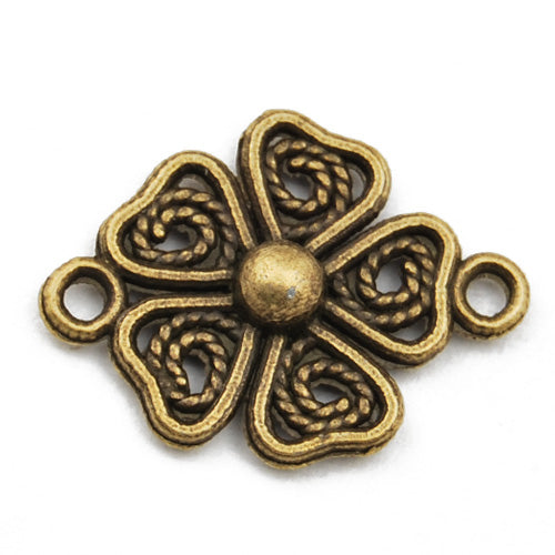 20*15mm Vintage antique bronze Zinc alloy links,clover,sold 200 pcs per pkg