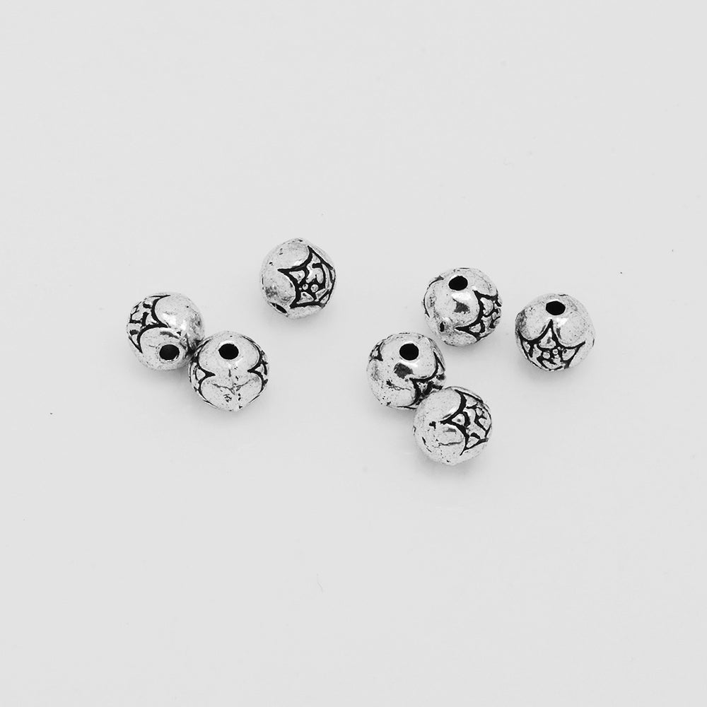 6 mm Tibetan Jewelry Beads,Silver Tone Spacer Beads,Diy Large Hole Spacer beads,Metal beads,Sold 100pcs/lot