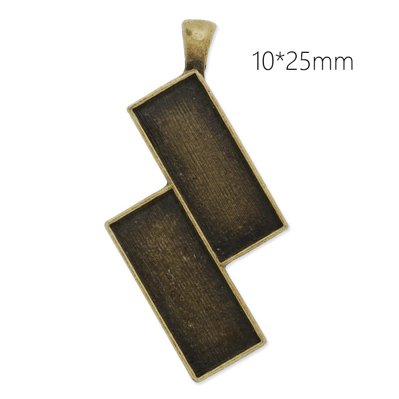 10x25mm antique bronze plated rectangle cabochon base setting pendant,2 blanks,pendant bezel, 10 pieces/lot