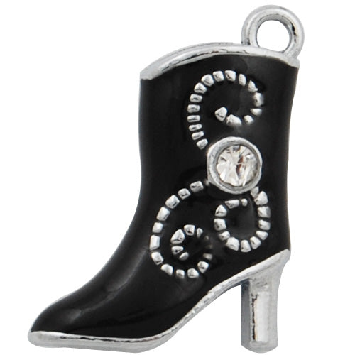 3D Shoe Enamel Charms,Black with Clear glass diamond,height 22mm,width 16mm,thick 6mm,Sold 20 PCS Per Package