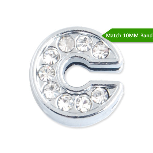 "10MM Letter ""C"" Slider Charms,Crystal Rhinestones Alphabets Beads,Silver Plated,Match 10mm Band or Slider Bracelet;sold 50pcs per pkg"