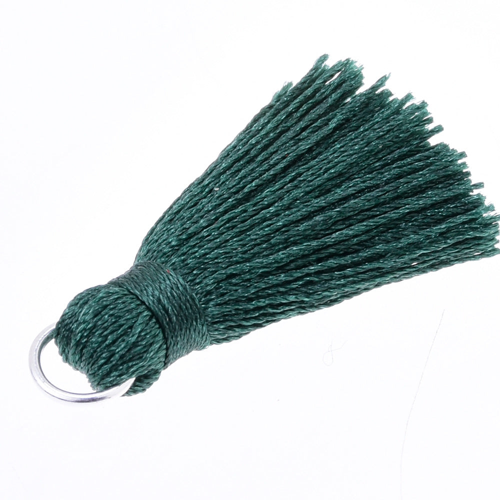 3.5cm  DIY Handmade Tassels, Short Handmade Tassels for jewelry making Necklace Earrings Dark green,10pcs/lot