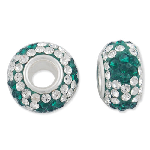 12*7 MM High Quality Round Emerald-Crystal Pave Crystal Beads,Skyeye,Brass Hole,Hole Size 4.3MM,Sold 5 PCS Per Package
