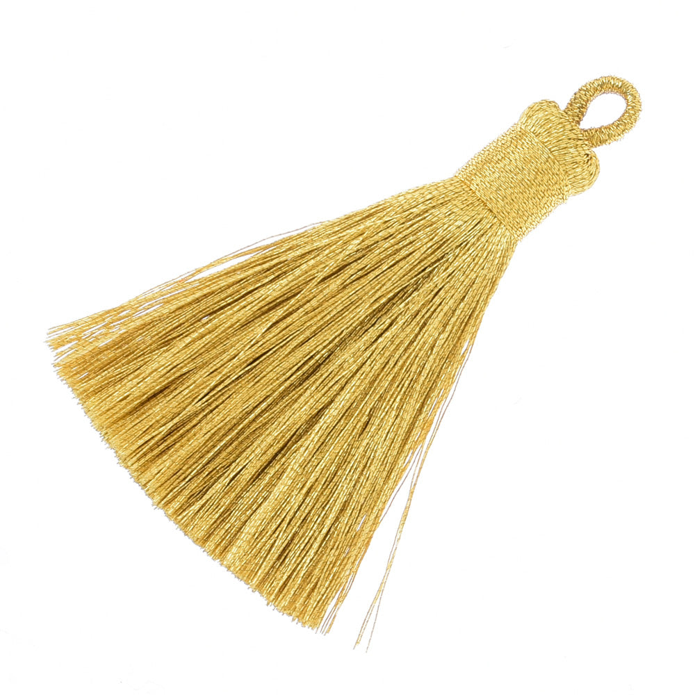 5.8cm Mini Polyester Gold and silver line tassels for jewelry making Necklace Earrings Gold,10pcs/lot