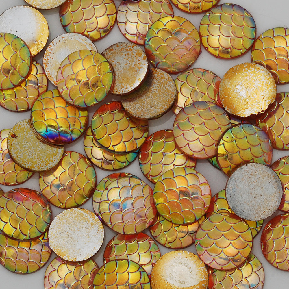 12mm Round Resin Cabochon,Iridescent Mermaid,Jewelry Findings,Yellow,Thickness 2.5mm,50pcs/lot