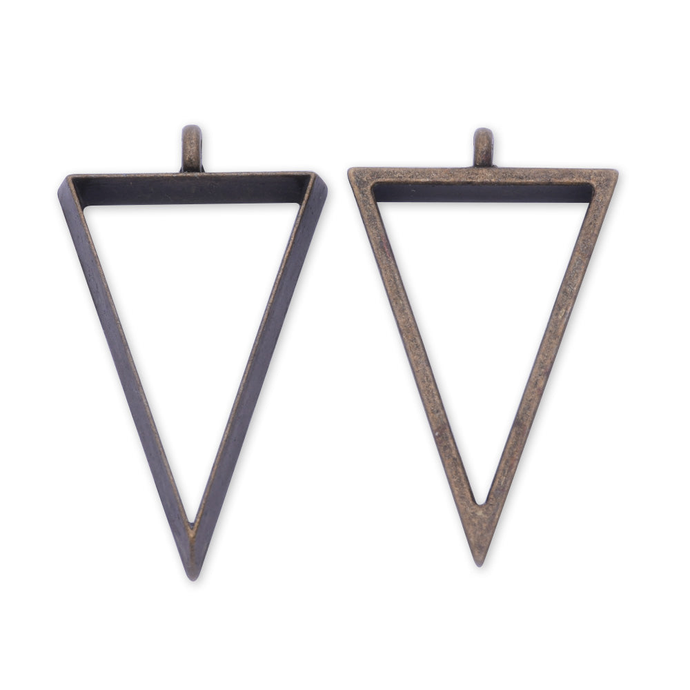 10 Antique bronze Metal Triangle frame  35*22*4mm bezel open back pendant  Zinc alloy accessories pendant trays Resin Setting Blanks