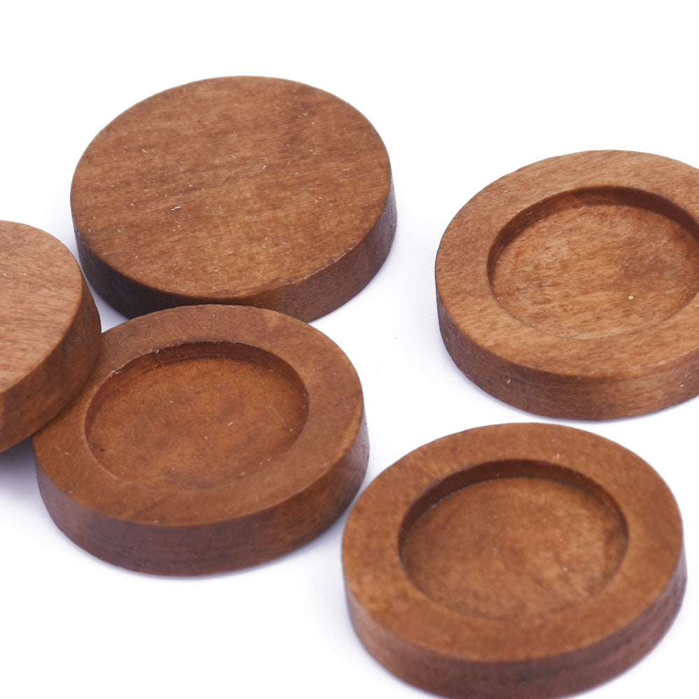 12mm Round Wooden Pendant Tray Bezel Setting Blanks wood Bezel Cup unfinished wooden jewel supply light coffee 20pcs