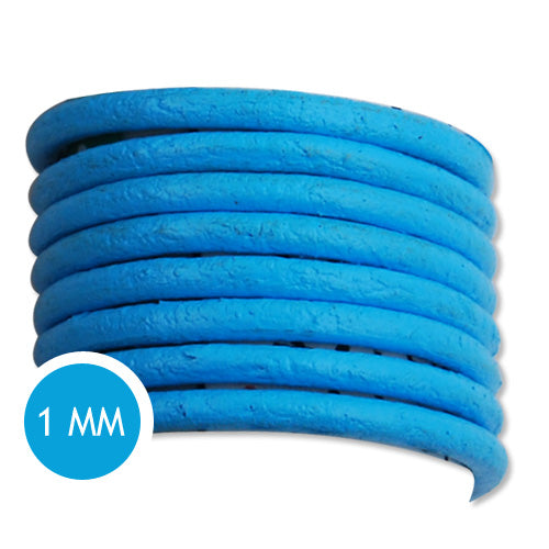 1.0mm Thickness Blue Round Leather Cord,Sold 50M/Roll