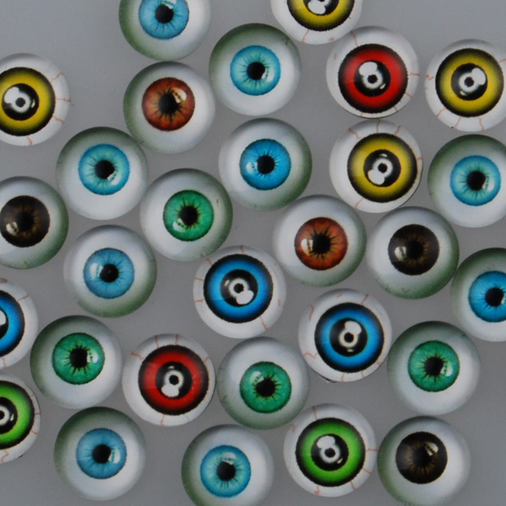 10MM Round glass cabochons with mixed Eyes,Photo glass cabochons,flat back,thickness 4mm,50 pieces/lot