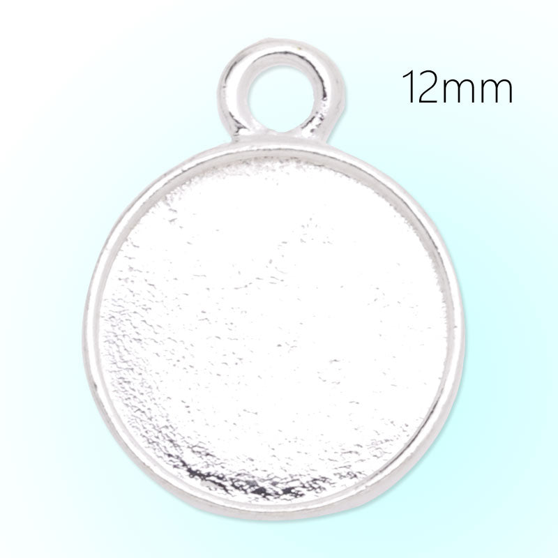 12mm Round Pendant tray,Zinc alloy filled,shine silver plated,20pcs/lot