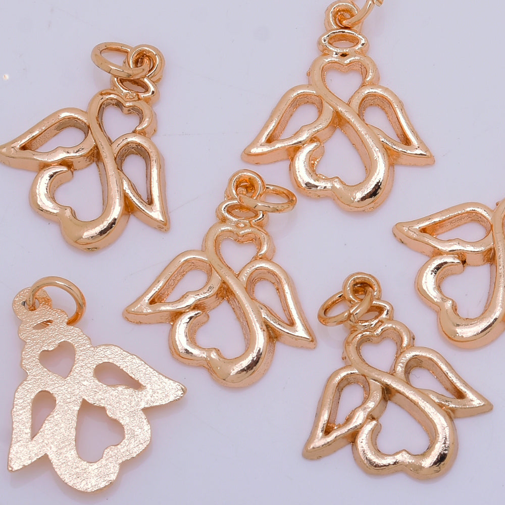 24K Gold Plated brass pendant Angel charm Jewelry Supply for Necklace pendant Womens Gift for Her 20*16mm 10pcs