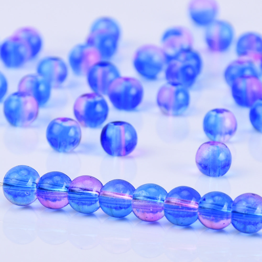 6mm Glass Round Beads Glass Ball Beads Czech Glass round Seed Beads Jewelry Making Beading Supplies Blue Violet 50pcs
