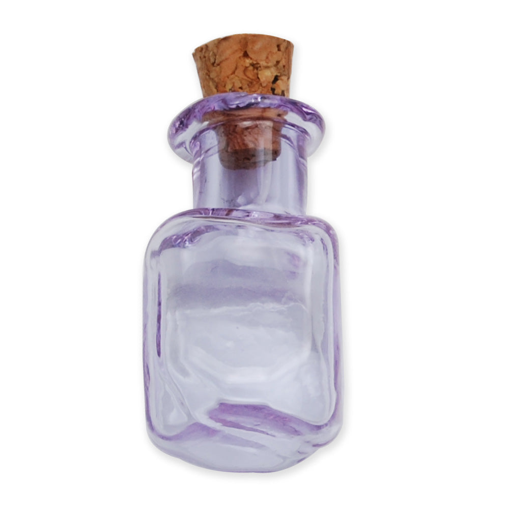 14 * 25mm Colored Tetragonal Wishing Bottle,Purple Small Glass Flat Bottle With Cork,Empty Glass Bottles,Glass Jar,10pcs/lots