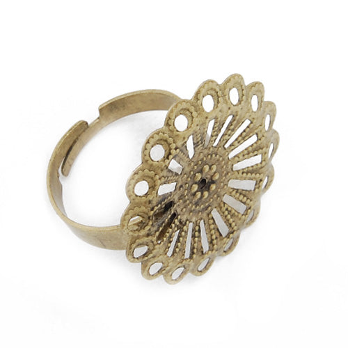 Antique Gold, Adjustable Ring Blanks Base with 23mm  Flower pad,Sold 50PCS  Per Lot