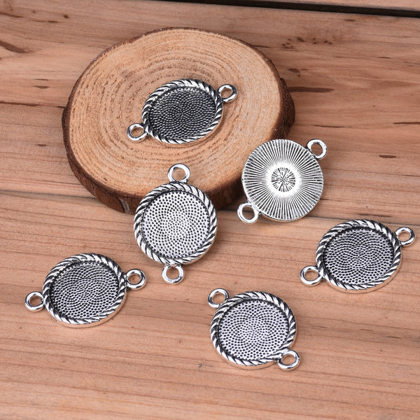 Bracelet Connector with 18mm Round Bezel,Zinc Alloy filled,antique Silver plated,20pcs/lot