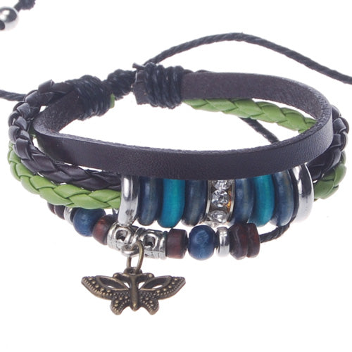 2013-2014 Summer hot sale promotional gifts butterfly charm beaded hand-woven  leather bracelet,Deep Coffee,sold 10pcs per pkg