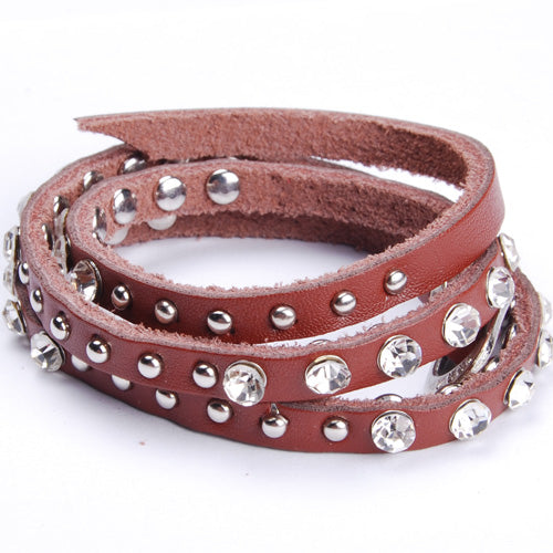 2013 simple Refinement  Coffee  Punk Rock Leather Rivet Studded Bracelet Chain Wristband Bangle Jewelry,sold 10pcs per pkg