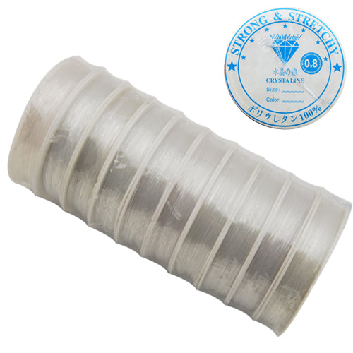 10M/Roll,0.8MM Crystal Thread,Clear,Elastic Rubber Beading Cord Thread String,Sold 10 Rolls Per Lot