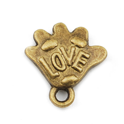 14*13mm Vintage antique bronze Zinc alloy Charms,love hands,sold 200 pcs per pkg