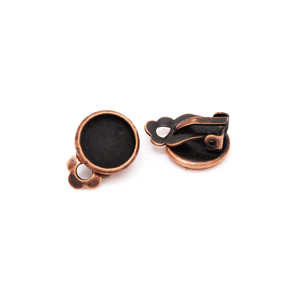 10mm Antique Copper Metal Blank Earring Clip Base,Earring Clip Blanks,Cabochon base earring clip,50pcs/lot