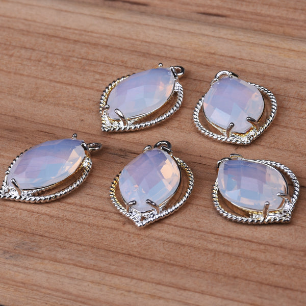 Faceted Pendant Metal Beads Framed Glass Connectors Charm Earrings Findings 5PCS