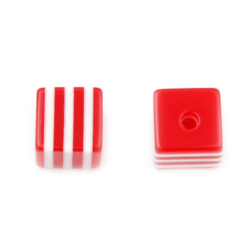 8mm*8mm*8mm Bright White and Red Striped  Cube Plastic Beads,hole size 1.8mm,sold 500pcs per pkg
