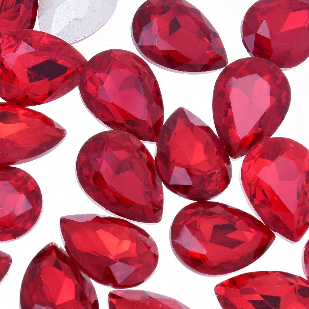 18x25mm Teardrop crystal Pointed Back Rhinestones Glass Crystal dress jewellery making shoes red 50pcs 10184356