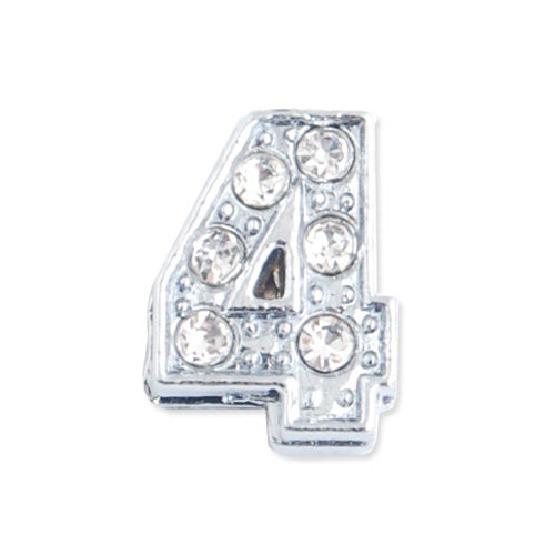 "11.5*8.5*5 MM Clear Crystal Rhinestone Number ""4"" Slider Charm Beads,Hole Sizes:8*2 MM,Silver Plated,lead Free and Nickel Free,Sold 50 PCS Per Package"
