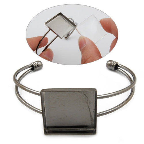 Bracelet With 25*25MM Square Setting,Cuff,Adjustable,Gun Metal Black-Plated Brass,Lead Free And Nickel Free,Sold 10PCS Per Lot