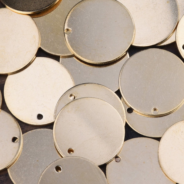 about 18mm Single-Hole circular sheet brass,Brass Blanks stamping blanks tags,Jewelry Making Discs,Thickness 1 mm,Metal,50pcs/lot