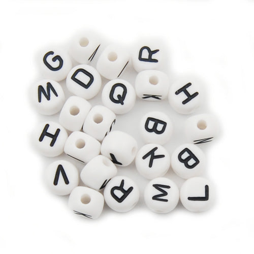 500 Grams 5*7MM  Round Alphabet  Acrylic Beads,White,About 3000PCS Per Pkg