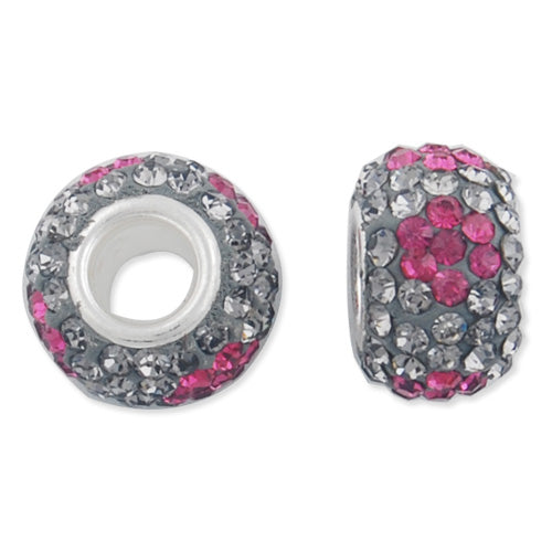 12*7 MM High Quality Round Fuchsia-Gray Pave Crystal Beads,Skyeye,Brass Hole,Hole Size 4.3MM,Sold 5 PCS Per Package