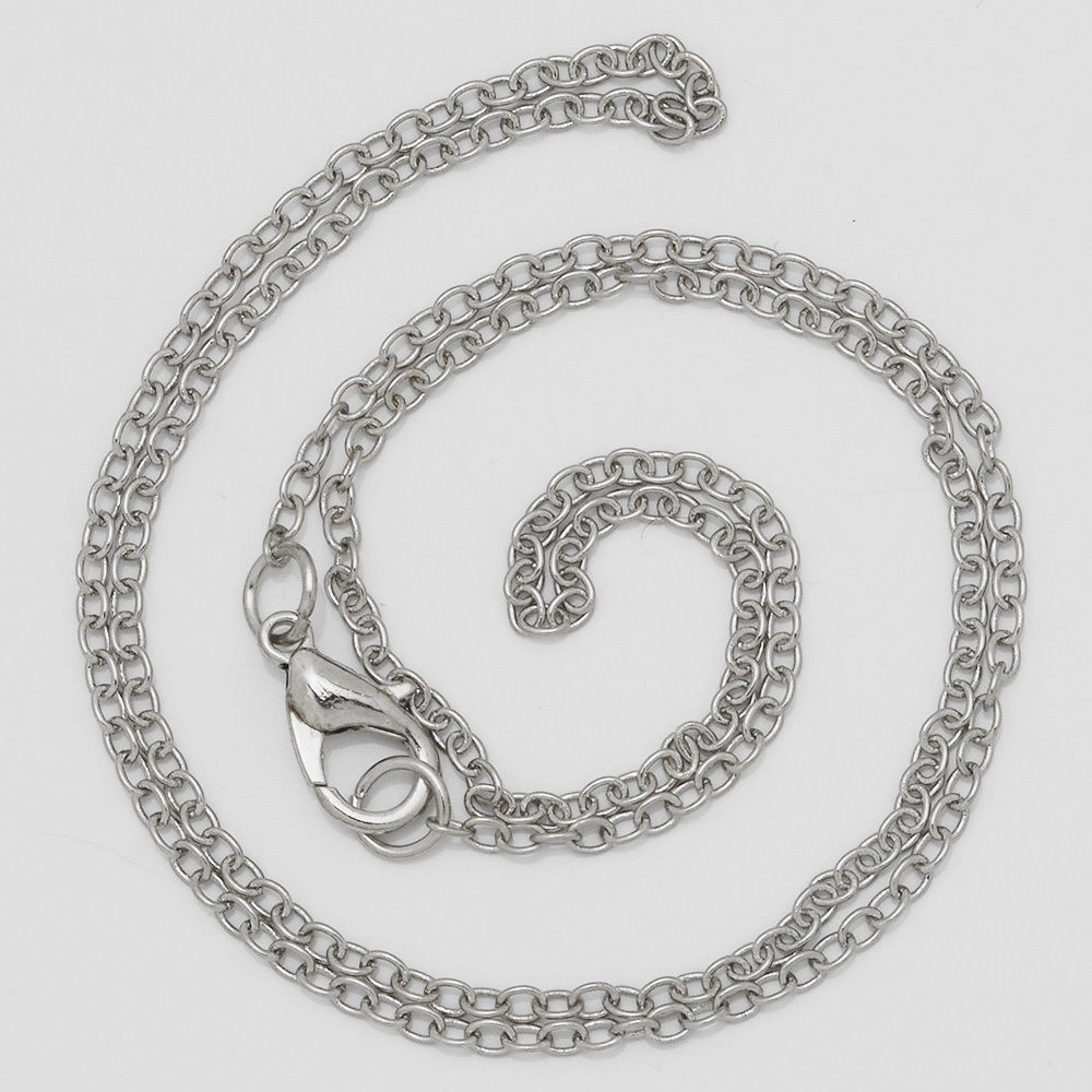 "Great Quality 18""2mm Finish Chain Necklace Chains Bulk For Pendant DIY jewelry Accessory Imitation Rhodium Plated 20Pcs"
