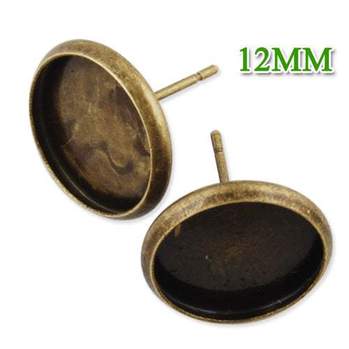 2013-2014 new brand Antique Bronze plated  stud earring with a 12mm bezel,fit 12mm glass cabochon;sold 50pcs per package