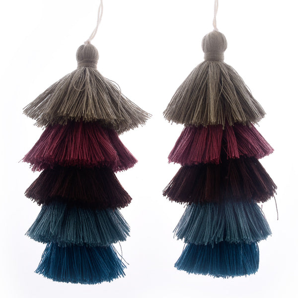 Wholesale Layered Tassel Pendant Five Tier Colorful Cotton Tassel for Earrings pendant handmade 2pcs 10192857