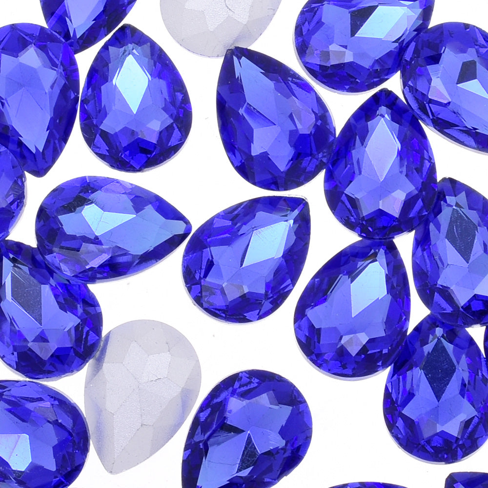 18x25mm Teardrop crystal Pointed Back Rhinestones Glass Crystal dress jewellery making shoes blue 50pcs 10184352