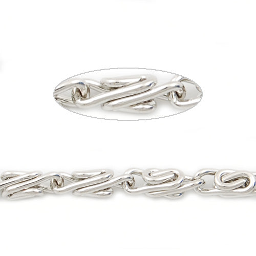 8.4MM*2.8MM Brass Nickel Plated Twist Chain,Handmade,Sold 25 Meters Per Roll