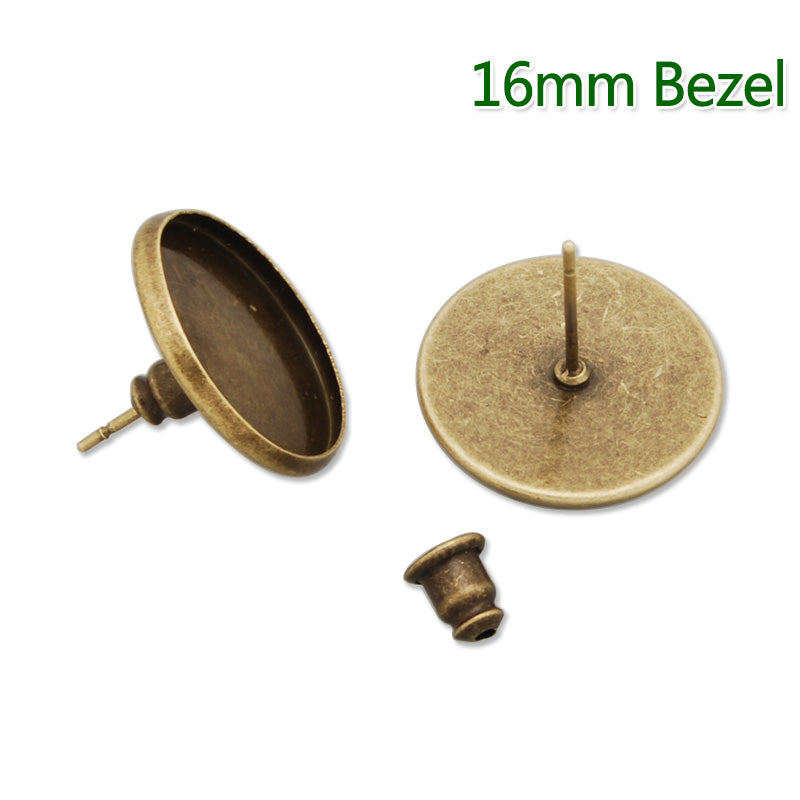 16MM stud earring,Antique Bronze,Round Back,fit 16mm glass cabochon;sold 50pcs per package