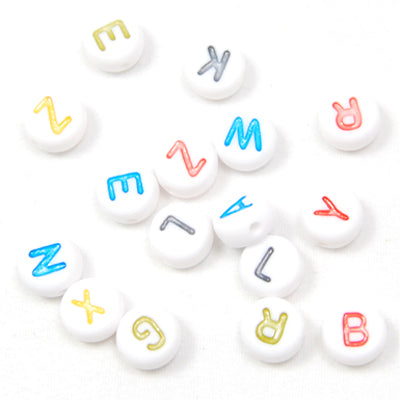4*7MM Dish Alphabet Beads Acrylic Mixed Alphabet,Sold per PKG of 3600 PCS
