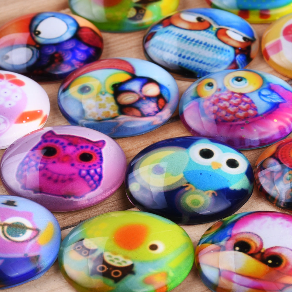 25MM Round Pattern flat-back Glass cabochon,one style multi photos,kawaii Owl,20 pieces/lot