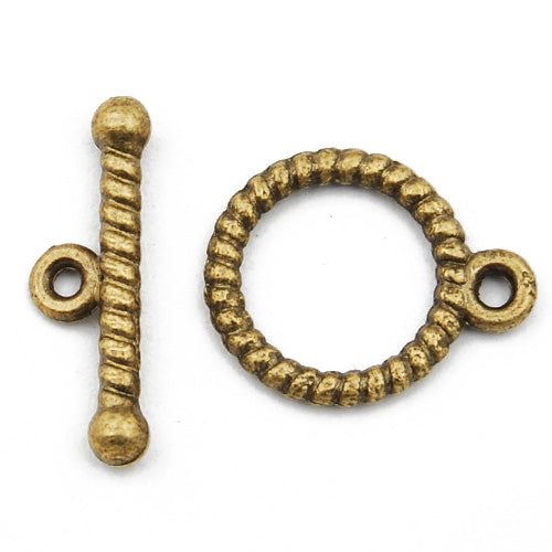 Casting Toggle Clasp,Anqitue Bronze plated,13MM*18MM,Sold 200 sets per pkg