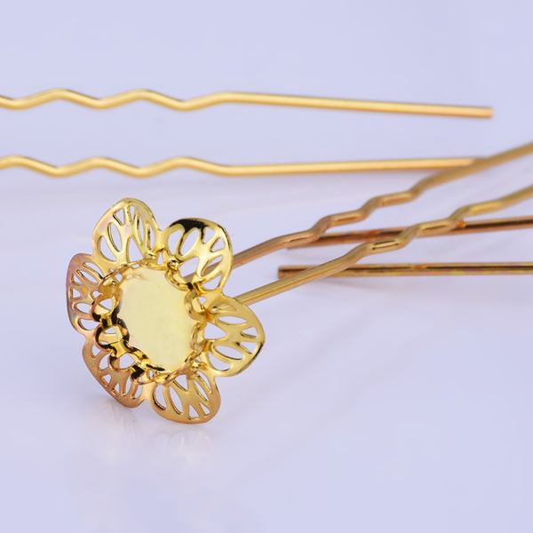 75mm U style Hairpin with 10mm Cameo Base Clips Hair Bobby U Pins Wedding Hair Pins gold 10pcs