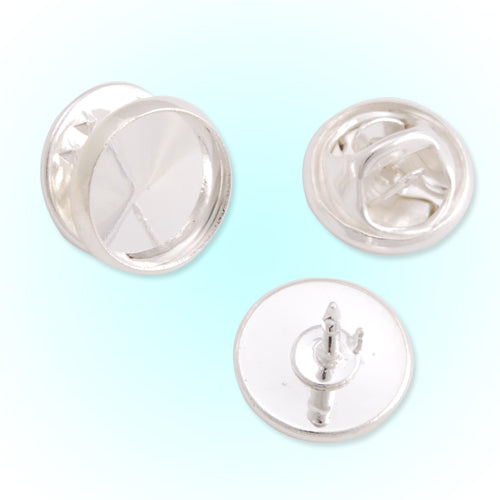 10mm Silver Plated Copper Cameo Brooch back,Tie Tac Clutch with 10mm Round Bezel Cup,sold 50pcs per pkg