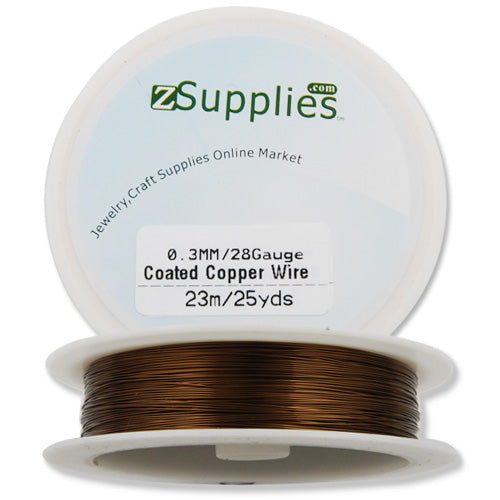 0.3MM Thick Coffee Coated Soft Copper Wire,about 23M/25yds per Roll,28Gauge,Sold 10 Rolls Per Lot
