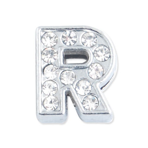 "12*10.5*5 MM Clear Crystal Rhinestone Letter ""R"" Slider Charm Beads,Hole Sizes:8*2 MM,Silver Plated,lead Free and Nickel Free,Sold 50 PCS Per Package"