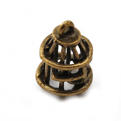 19*12mm Vintage antique bronze Zinc alloy Charms,3D Bird Cage,sold 50 pcs per pkg
