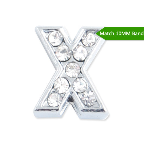 "10MM Letter ""X"" Slider Charms,Crystal Rhinestones Alphabets Beads,Silver Plated,Match 10mm Band or Slider Bracelet;sold 50pcs per pkg"
